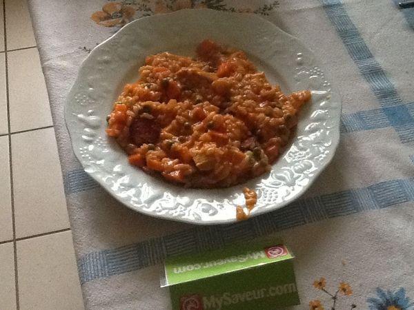 Risotto au chorizo poulet tomate veronique c - Risotto tomate thermomix ...
