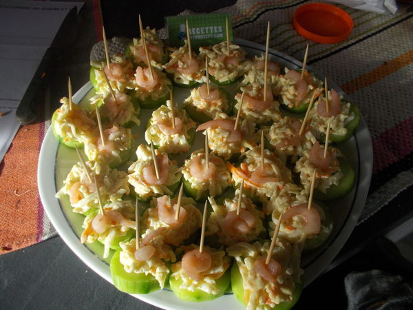 bouch u00e9es de concombre au surimi et crevette