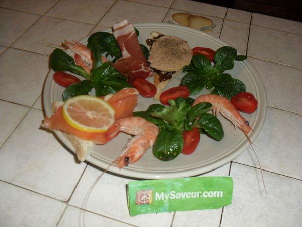 Assiette terre et mer claudine o for Decoration assiette foie gras